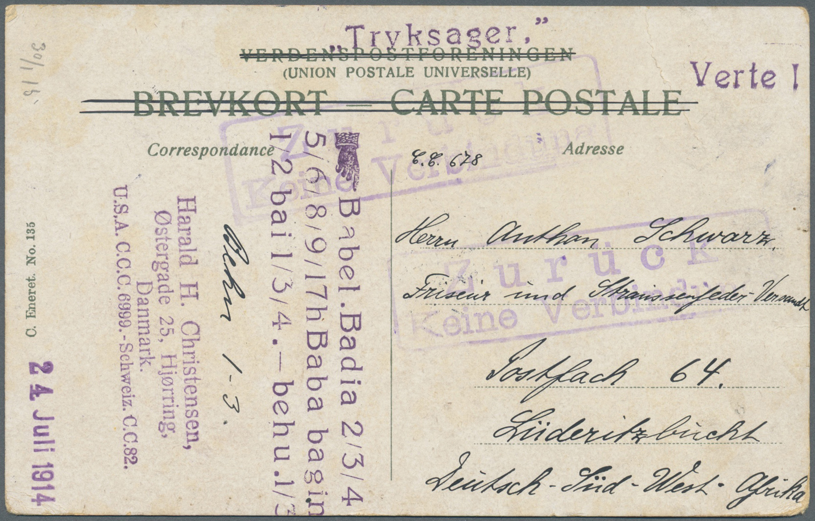 Lot 22395 - Deutsch-Südwestafrika - Besonderheiten  -  Auktionshaus Christoph Gärtner GmbH & Co. KG Single lots Germany + Picture Postcards. Auction #39 Day 5