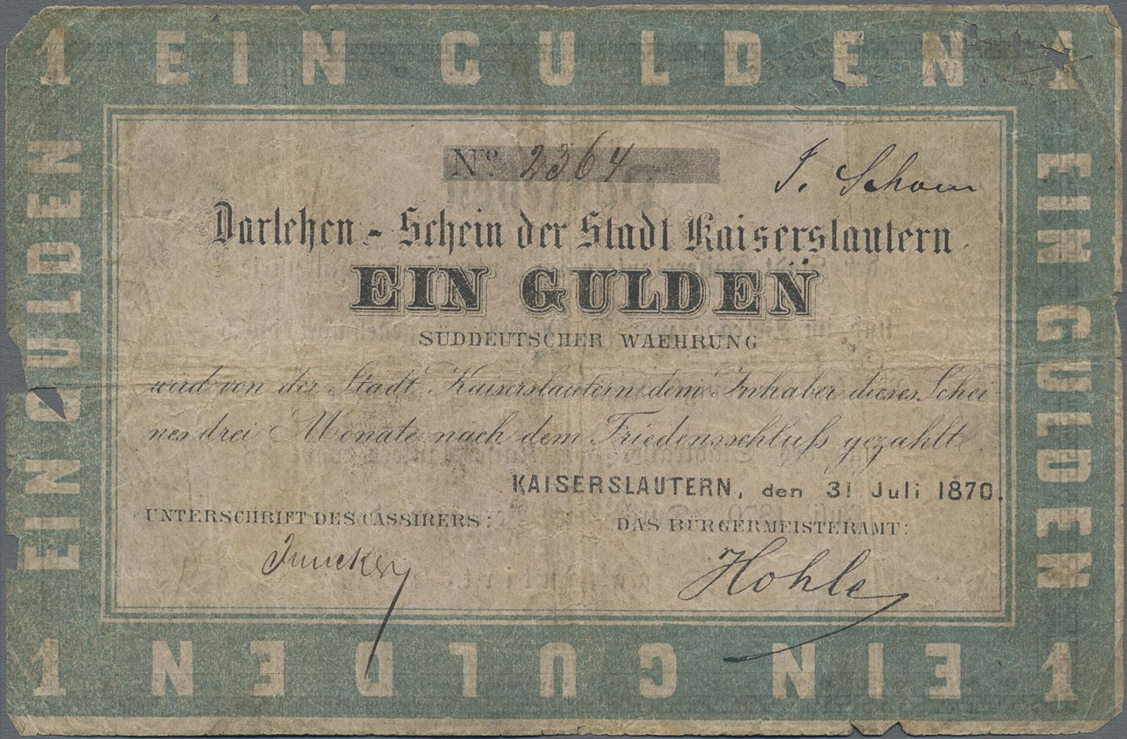 Lot 03313 - Deutschland - Altdeutsche Staaten | Banknoten  -  Auktionshaus Christoph Gärtner GmbH & Co. KG Sale #45 Banknotes Germany/Numismatics