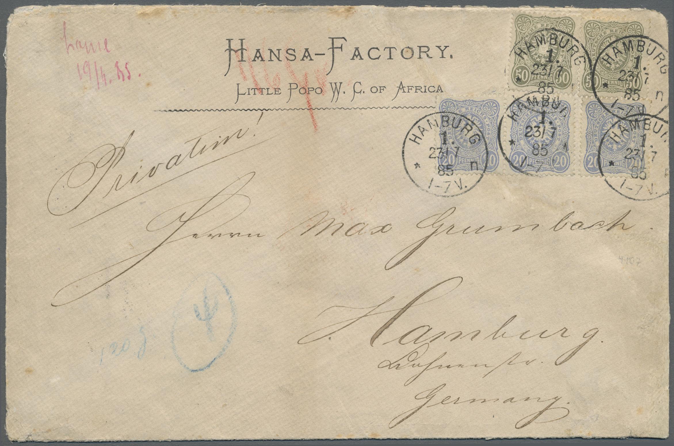 Lot 22615 - Deutsche Kolonien - Togo - Besonderheiten  -  Auktionshaus Christoph Gärtner GmbH & Co. KG Single lots Germany + Picture Postcards. Auction #39 Day 5
