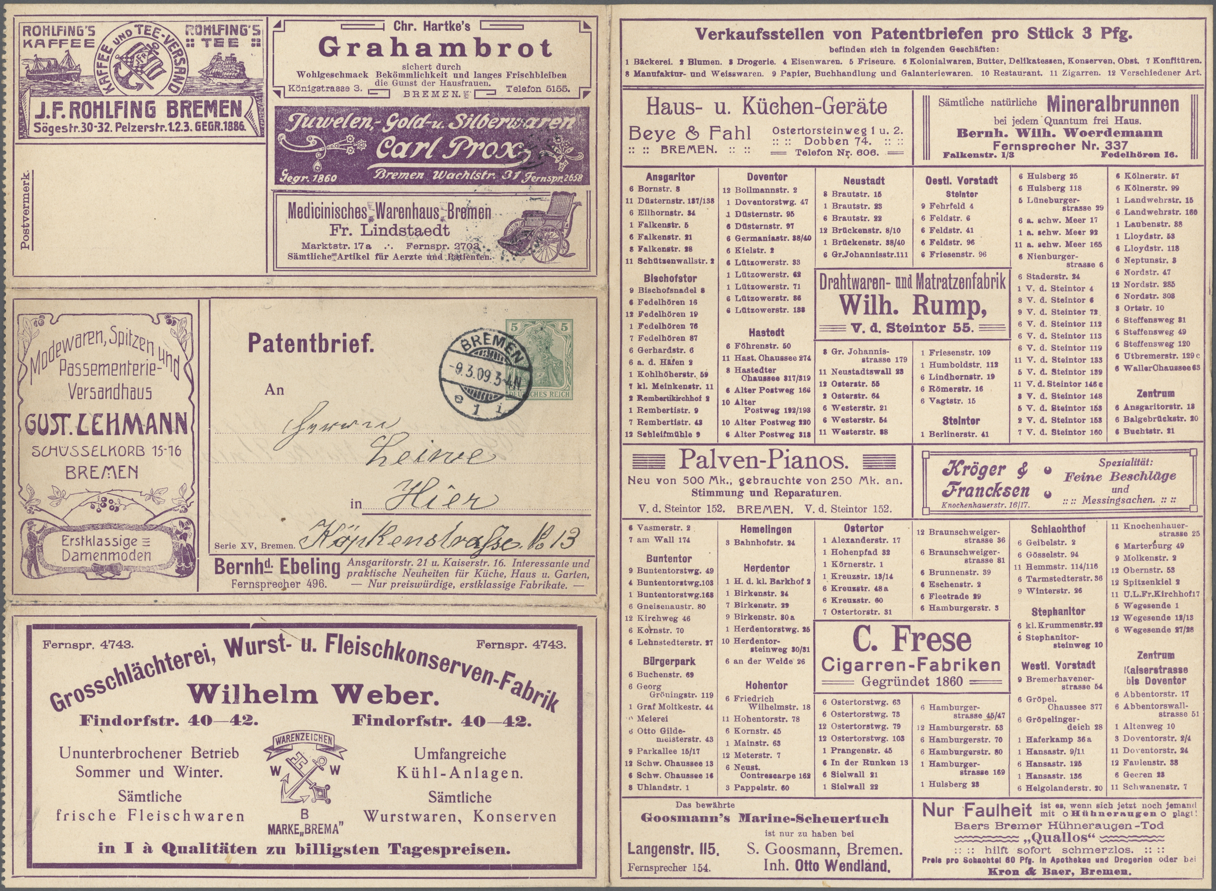 Stamp Auction - thematik: anzeigenganzsachen / advertising postal ...
