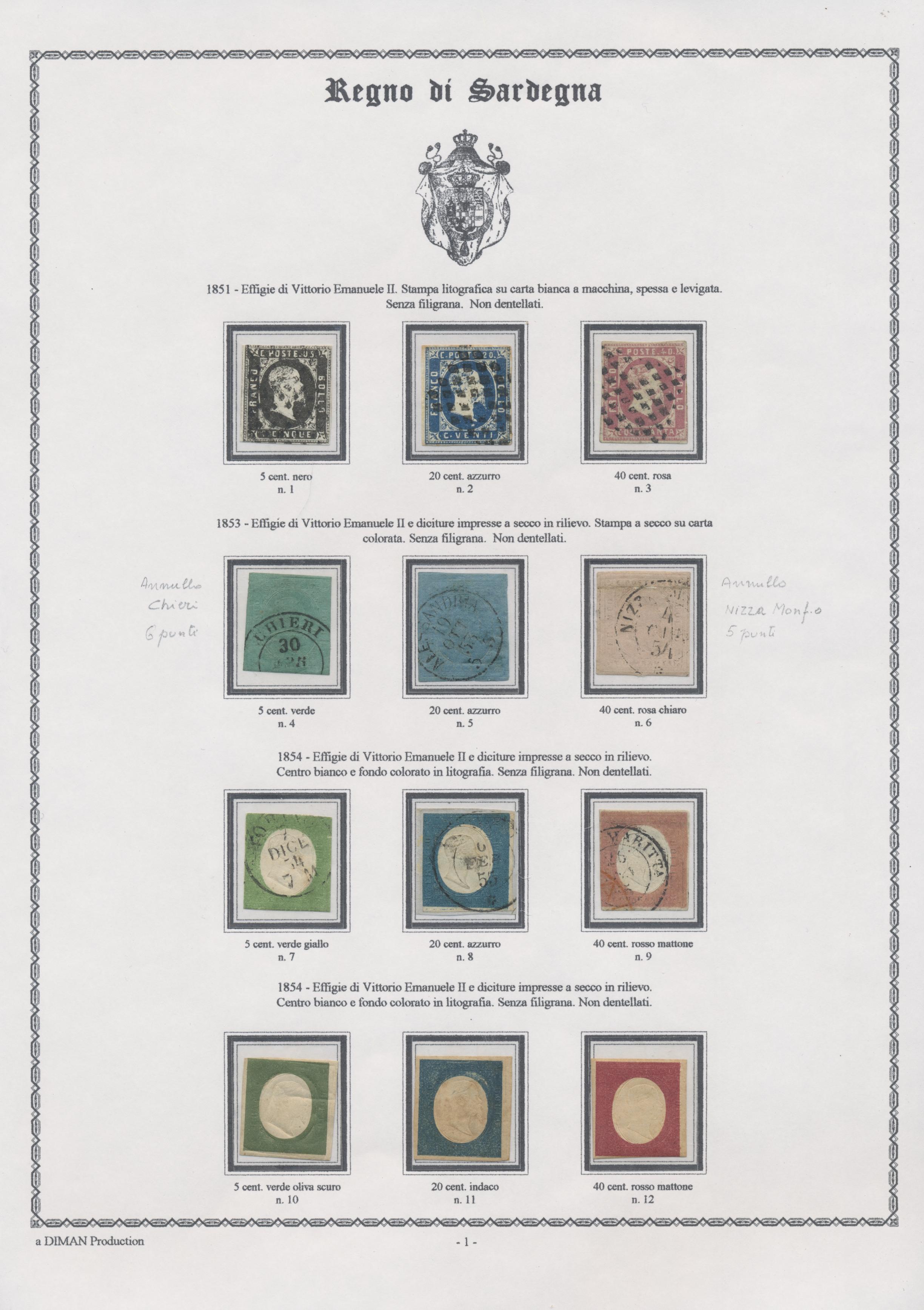 Colorati D Azzurro Chiaro stamp auction - italien - altitalienische staaten: sardinien